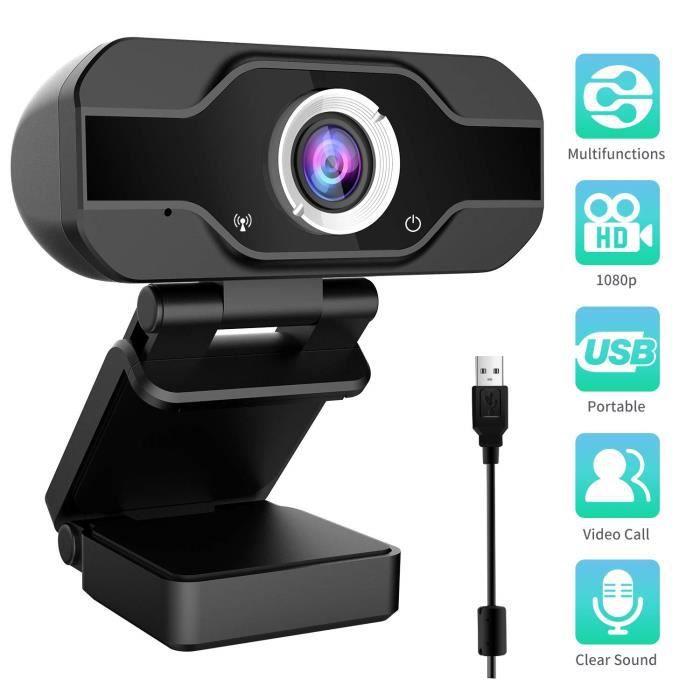Aiglam Webcam 1080P, Webcam pour Ordinateur de Bureau et Portable Usb, Mini caméra vidéo Call and Play,Gaming Stream, Deux Microp