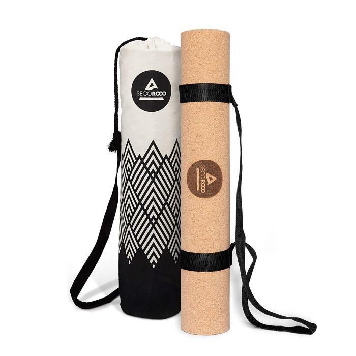 Secoroco Tapis d'entraînement et de Yoga en liège et Caoutchouc de 5 mm d'épaisseur, 100% respectueux de l'environnement, Naturel