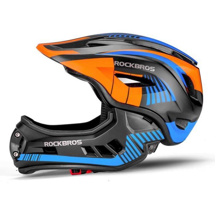 ROCKBROS Casque BMX d'enfant, Casques Intégral Vélo VTT, Casque Complet pour Garçon Fille Anti-Choc Menton Protection Détachable S/M