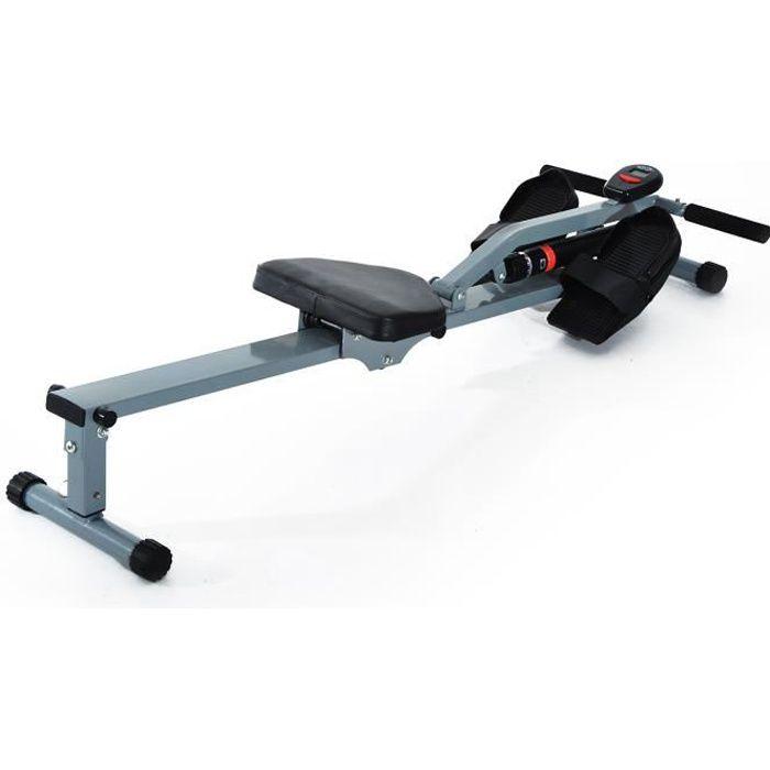Rameur d'appartement - Pour fitness et cardio training - Ecran LCD multifonction - Gris