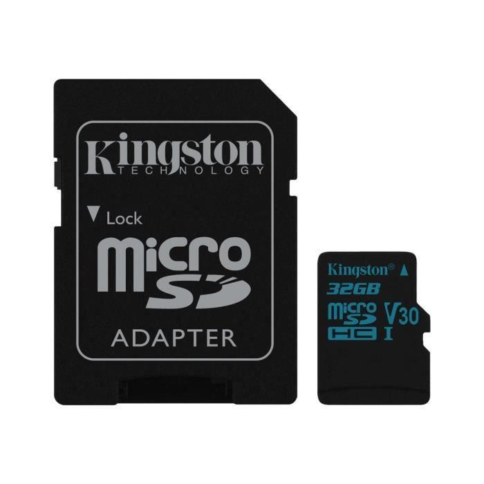 Kingston Carte mémoire flash Canvas Go! 32 Go Video Class V30 / Uhs I U3 / Class10 Micro Sdhc Uhs I