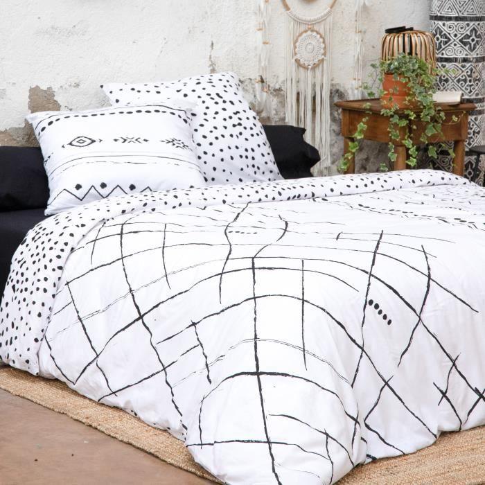 CDaffaires Parure de lit (housse de couette + 2 taies d'oreiller) 260x240 ikat Blanc