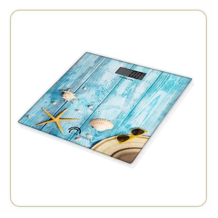 LITTLE BALANCE 8334 Paysage, Pèse-personne, balance électronique, 180 kg / 100 g, Design -Coquillages-