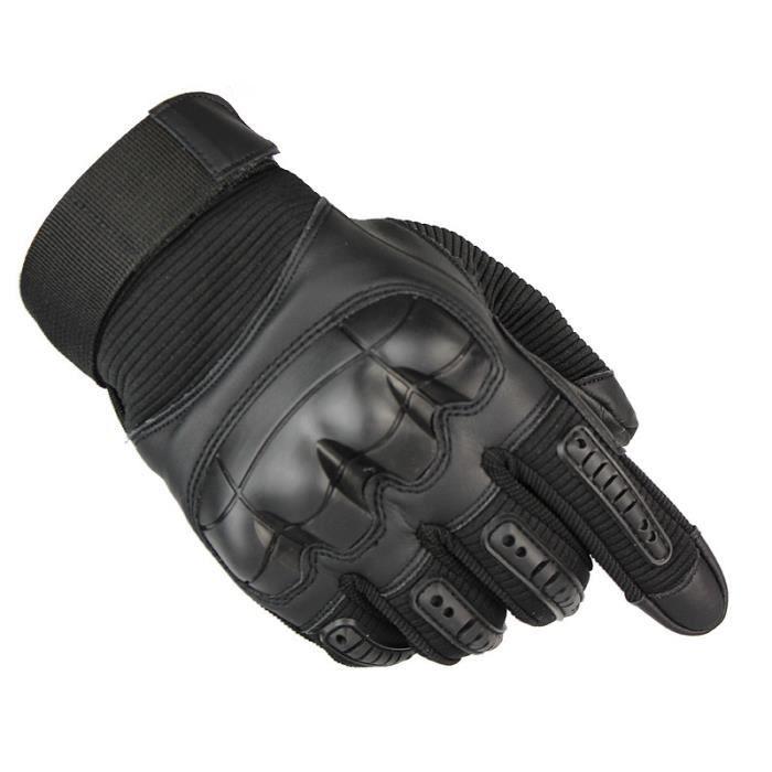 Gants Moto Vélo Doigt Complet Protection Gants Tactiques Anti-choc Antidérapant Sport en Plein Air - Noir