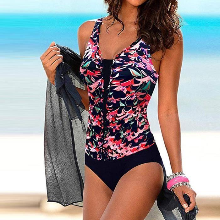 Femmes d'été dos nu sexy imprimer maillots de bain maillots de bain siamois maillot de bain bikini LXH91231801RDS_365