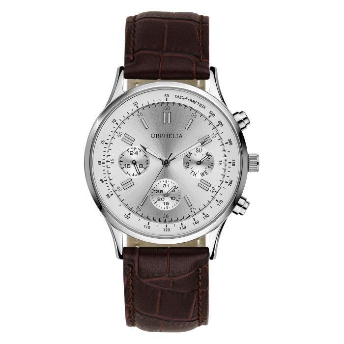 Orphelia - 81506 - Montre Homme - Quartz - Chronographe - Chronomètre - Aiguilles - Luminescent - Bracelet cuir Marron
