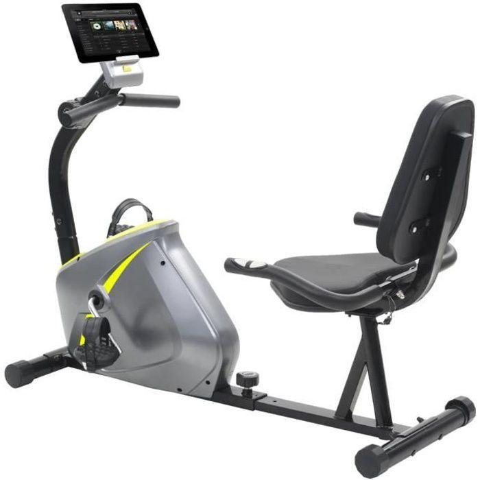 Vélo d'appartement - Vélo semi-allongé d'exercice 5 kg Masse rotative - Gris