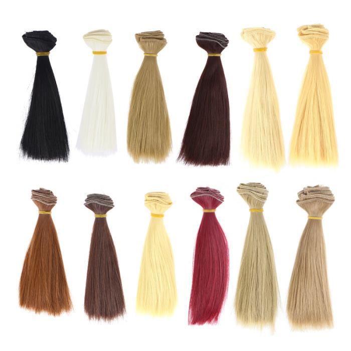 12 pièces résistant à la chaleur droite mode perruque cheveux artisanat synthétique bricolage poupée perruques Extensions POUPEE