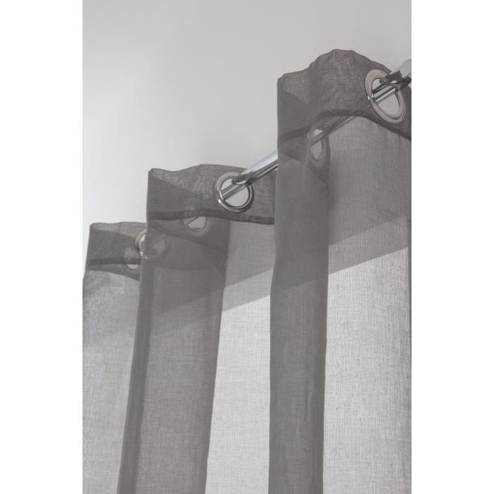 Rideau Voilage Classique Grande Hauteur 140 x 280 cm à Oeillets Uni Gris Foncé Effet tramé
