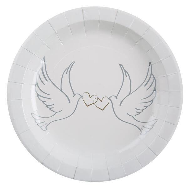 Assiette mariage blanche colombes et coeurs (x10) R/4517 Matière carton
