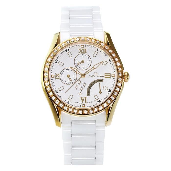 Stella Maris STM15M7 - Montre Femme Cadran blanc Quartz Analogique Bracelet Céramique blanc avec diamants et éléments Swarovski