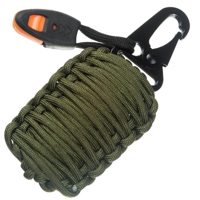 Outdoor Tressé Paracord Grenade trousse de survie Camping Pêche