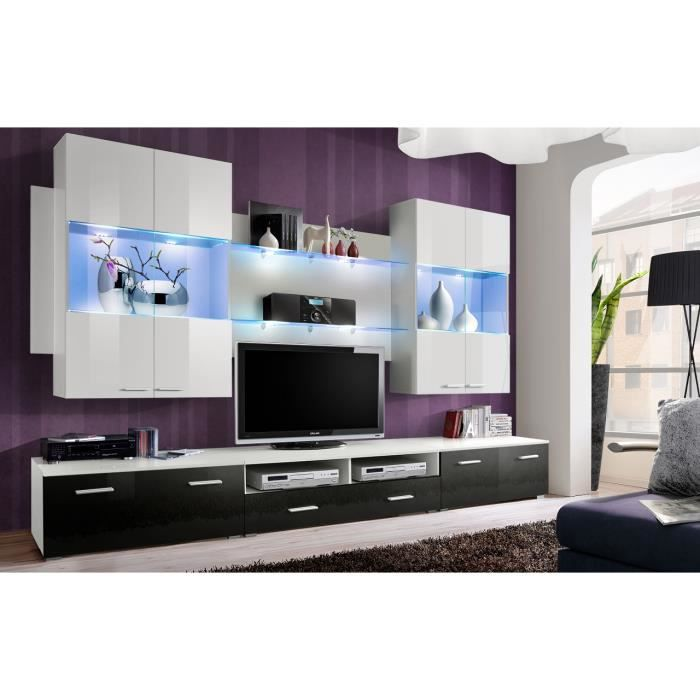 meuble de salon meuble tv design complet space blanc et noir brillant led vitrines. Black Bedroom Furniture Sets. Home Design Ideas