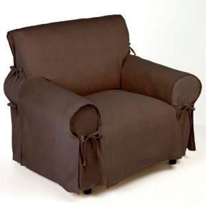 housse de fauteuil marron finition a nouettes achat. Black Bedroom Furniture Sets. Home Design Ideas