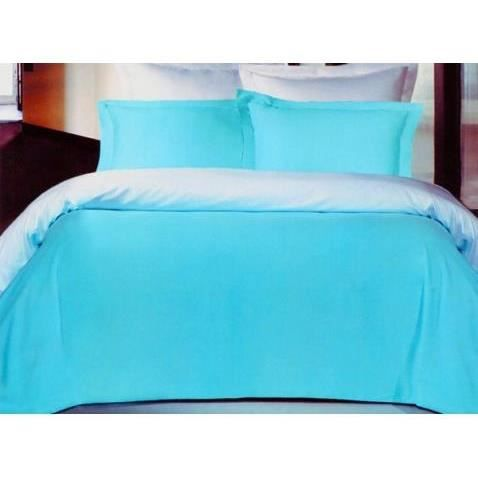 housse de couette satin 240x260 turquoise blanc achat vente housse de cou. Black Bedroom Furniture Sets. Home Design Ideas