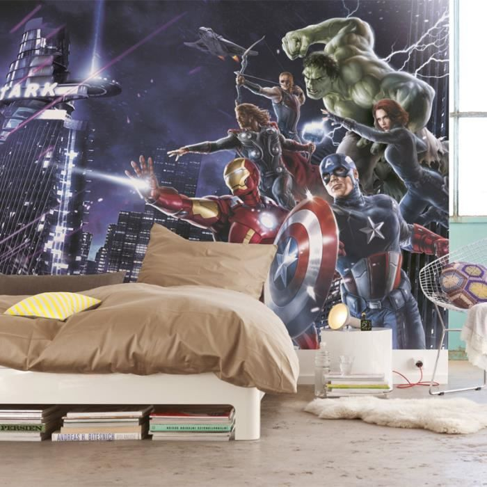 papier peint avengers citynight marvel achat vente papier peint les soldes sur cdiscount. Black Bedroom Furniture Sets. Home Design Ideas