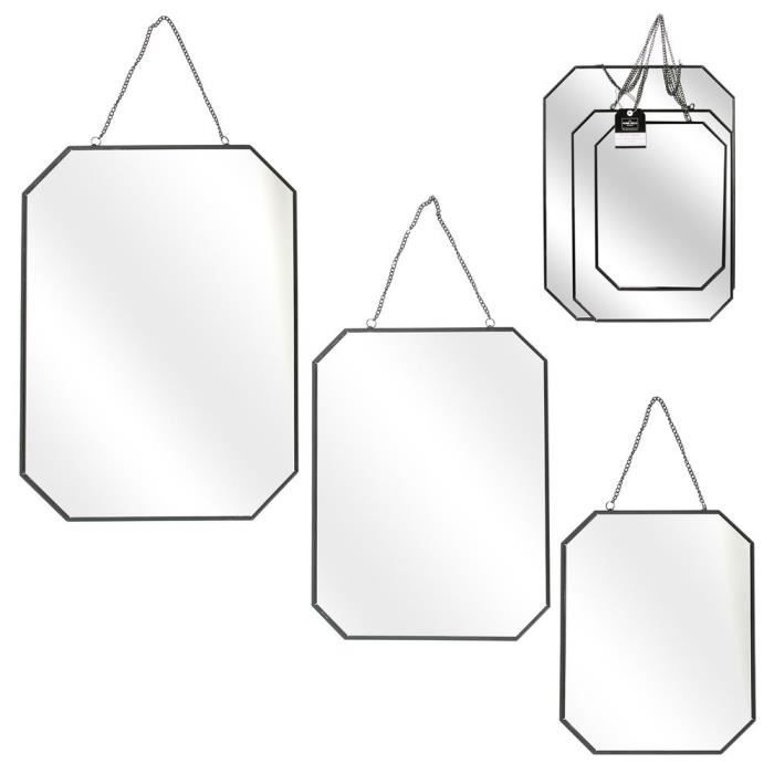 MIROIR THE HOME DECO FACTORY Lot de 3 Miroirs angles obli