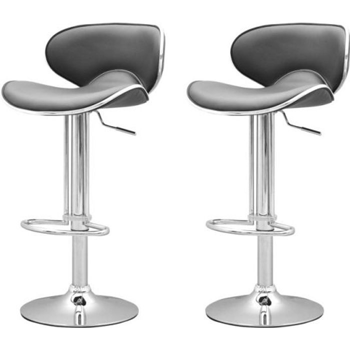 tabouret de bar gris x2 elite achat vente tabouret de bar soldes cdiscount. Black Bedroom Furniture Sets. Home Design Ideas