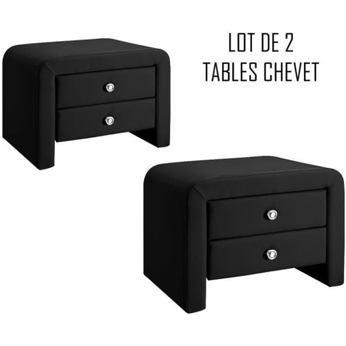 table chevet design noir eva x2 achat vente chevet table chevet design noir ev cdiscount. Black Bedroom Furniture Sets. Home Design Ideas