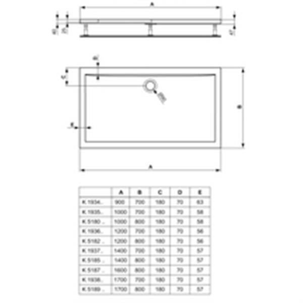 RECEVEUR DE DOUCHE Ideal standard Receveur ULTRA FLAT, 140x80cm, extr
