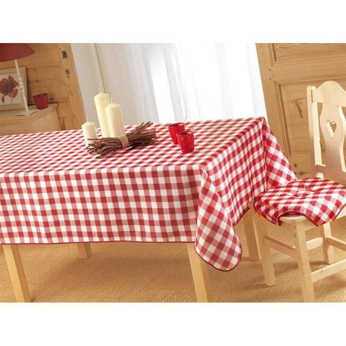 nappe rouge tissu table de cuisine. Black Bedroom Furniture Sets. Home Design Ideas