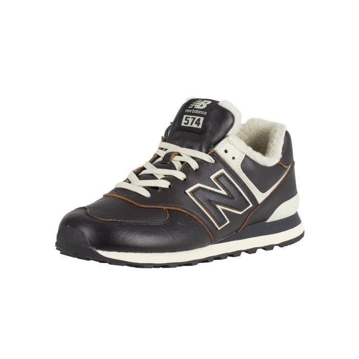 plus de photos af5fe 12c9a New Balance Homme 574 baskets Sherpa en cuir, Noir
