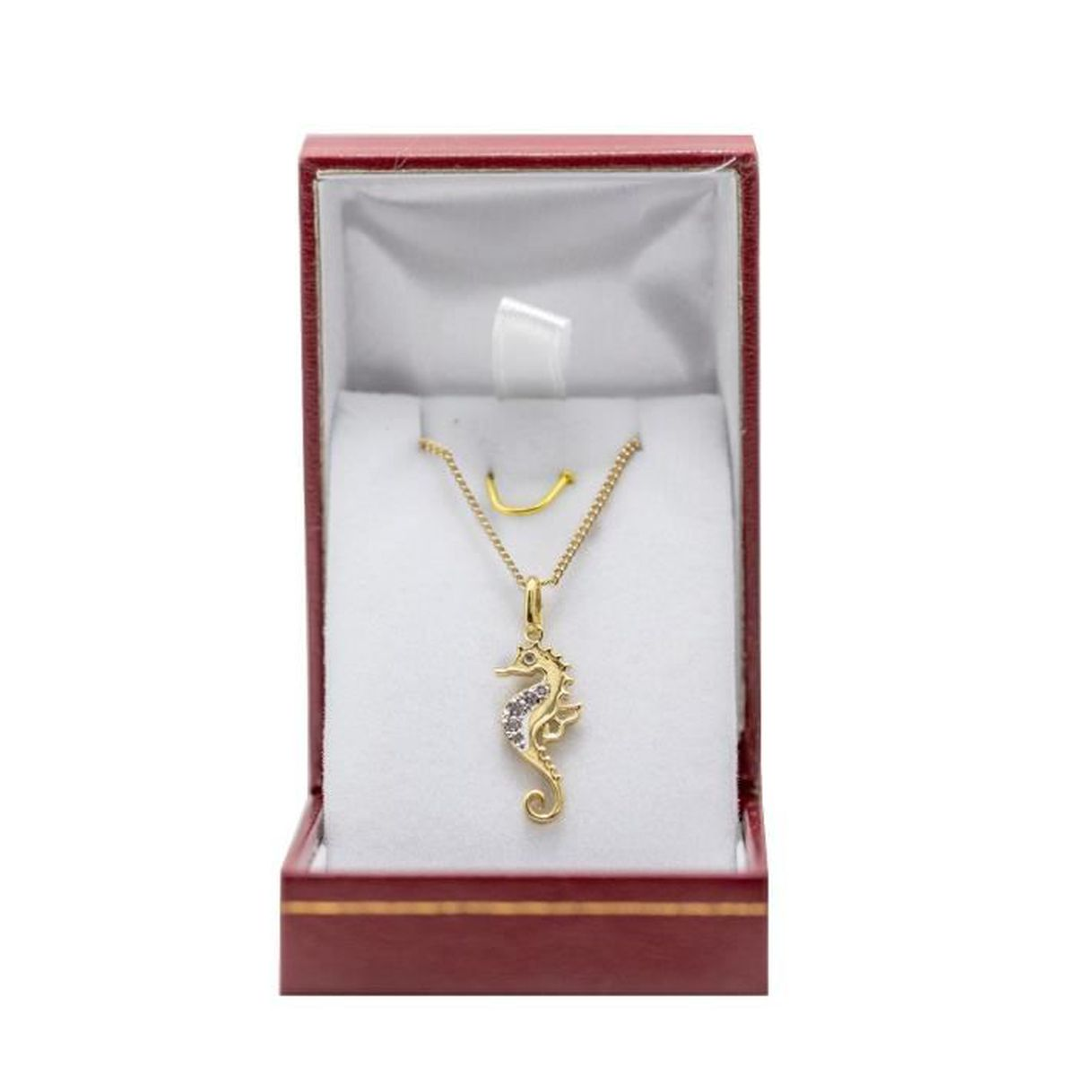 Pendentif en plaqué or hippocampe avec chaine en plaqué or