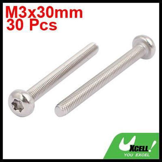 sourcing map M4x25mm acier inox 304 Vis /à t/ête ronde Torx Attaches 30pc