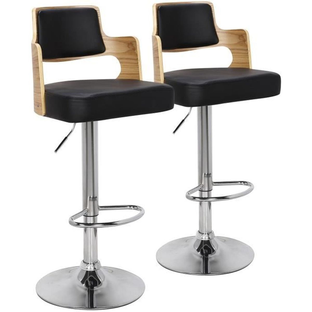 lot de 2 chaises de bar russel ch ne clair noir achat. Black Bedroom Furniture Sets. Home Design Ideas