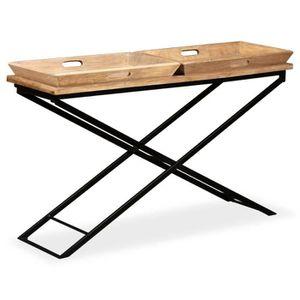 TABLE BASSE Tidyard Table Basse en Bois de Manguier Massif ave