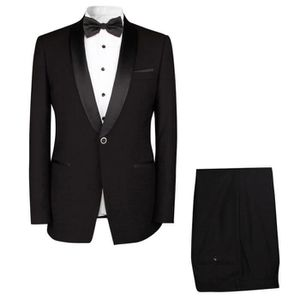 COSTUME - TAILLEUR Costume homme mariage noir Robe 2 Pièces smoking h ce44def7910