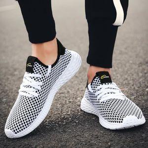 Mode homme respirant sport antidérapant marche chaussures de course à pied baskets Noir