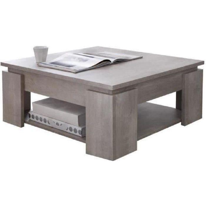 SEGUR Table basse style contemporain décor chêne champagne - L 80 x l 80 cm