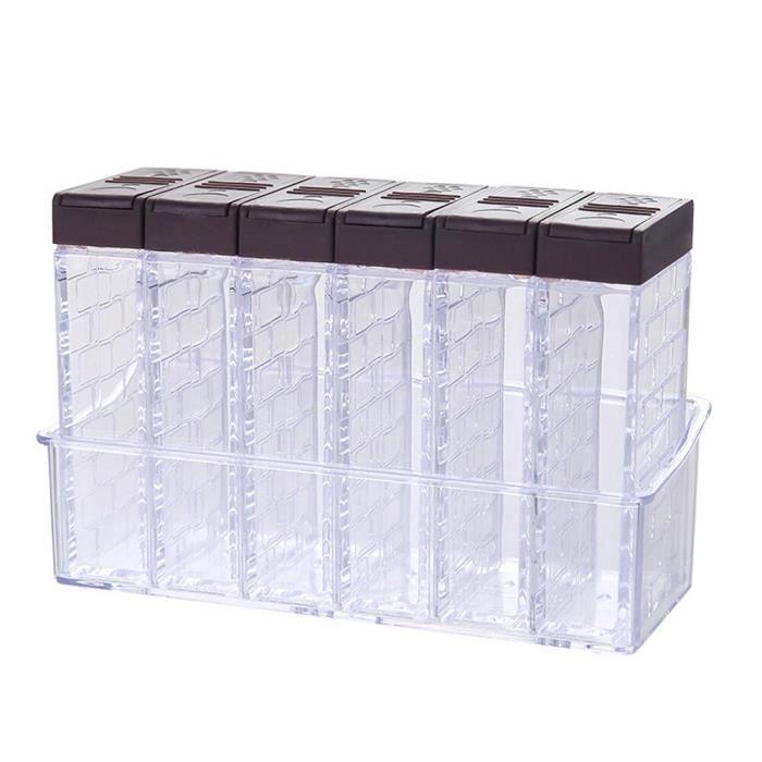 Boîte d'assaisonnement pour épices, 6 pots de sel et de poivre PP, boîte de rangement pour épices de cuisine, boîte [4F81832]