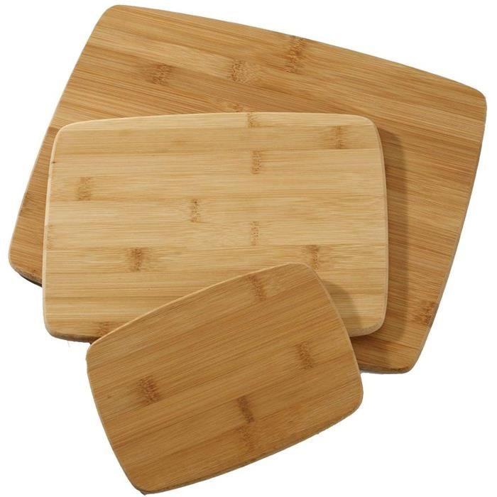 Wooloo Planche à découper en bambou , ens de 3
