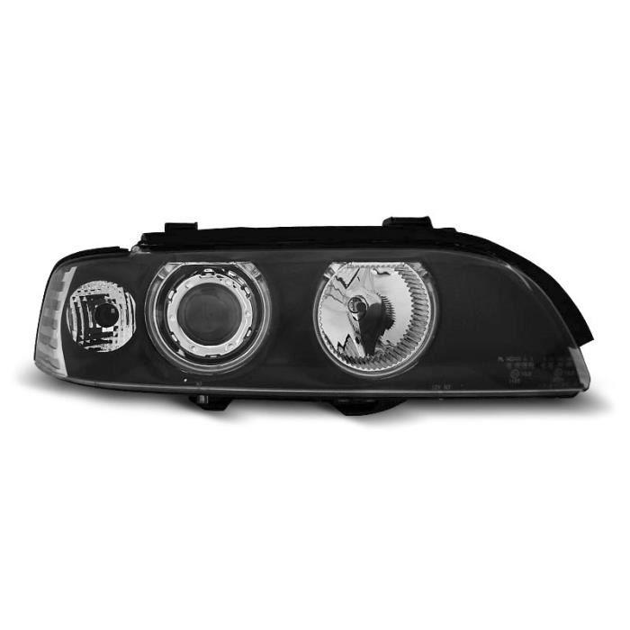 Paire de feux phares BMW serie 5 E39 95-00 angel eyes CCFL noir (ME8)