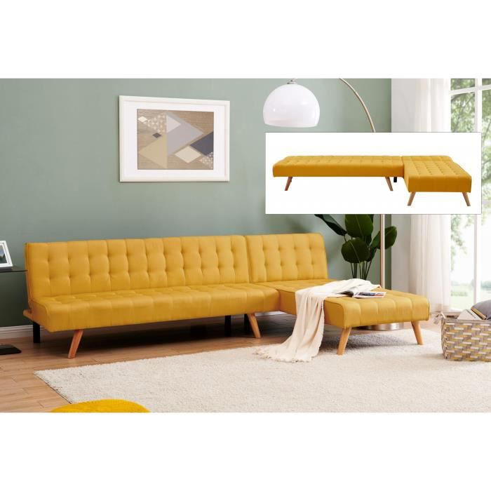 Canapé angle modulable et convertible en tissu jaune Rama