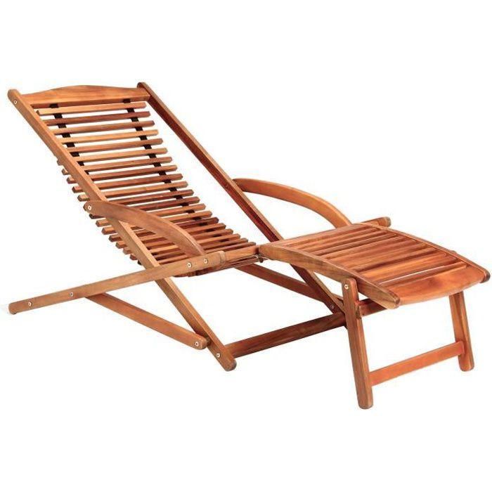 Transat chaise longue bois mobilier de jardin