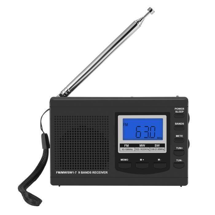JIE Radio portable FM-MW-SW avec antenne Réveil numérique Récepteur radio FM Récepteur FM numérique portable Horloge