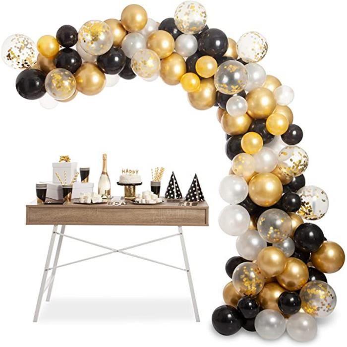 Ballon Noir Blanc Or,Guirlande Anniversaire Ballon,Latex Ballon de Confettis ,120pcs Arche de Ballon Kit