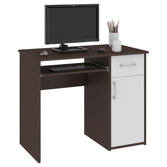 TORPE - Bureau informatique contemporain 90x74x50 cm - Taille compacte + support clavier + tiroir - Table ordinateur - Wenge/Blanc