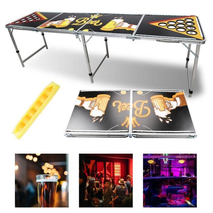 Hengda Beer Pong table original incl.6 boules table de fête réglable en hauteur LED -