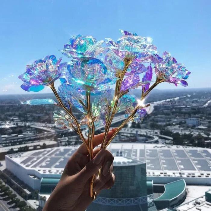 Vase - Coupe Fleur Cadeaux Uniques De Lumière Artificielle Led Rose Lumineuse Colorée 6Pc Pour La Mère Wyy210311805