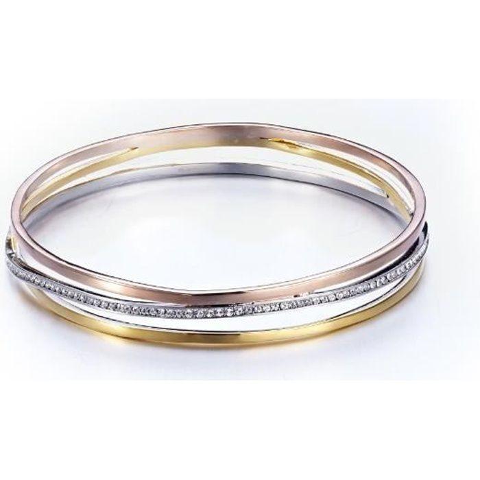 Bracelet Bangle 3 Ors Jaune, Blanc et Rose, Cristaux Swarovski Elements et Plaqué Rhodium