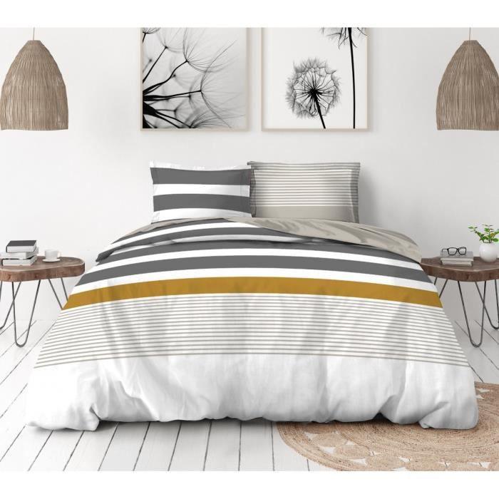 COUETTES ET CETERA Parure de couette Bandeau - 1 housse de couette 240 x 260 cm + 2 taies 65 x 65 cm - Gris, beige et blanc