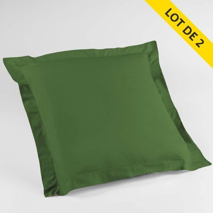 Lot de 2 taies d'oreiller volant plat 63x63 100% coton 57 fils Finition point bourdon Vert sapin