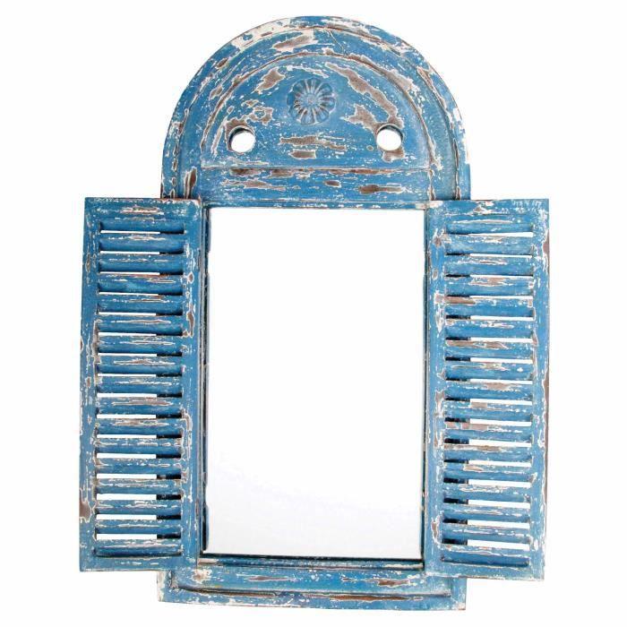 Miroir Louvre Patiné 38.5x54.5cm - Bleu