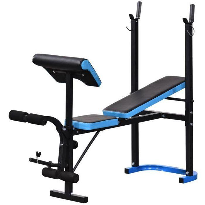 Banc de musculation Fitness r 155x56x120cm Bleu