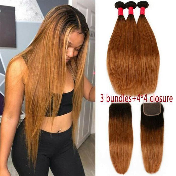 3 pièces Faisceaux 100g-p brésiliens de cheveux raides Avec 4*4 Closure 1B-30 HUIXIN(18- 18- 18-+12-closure)