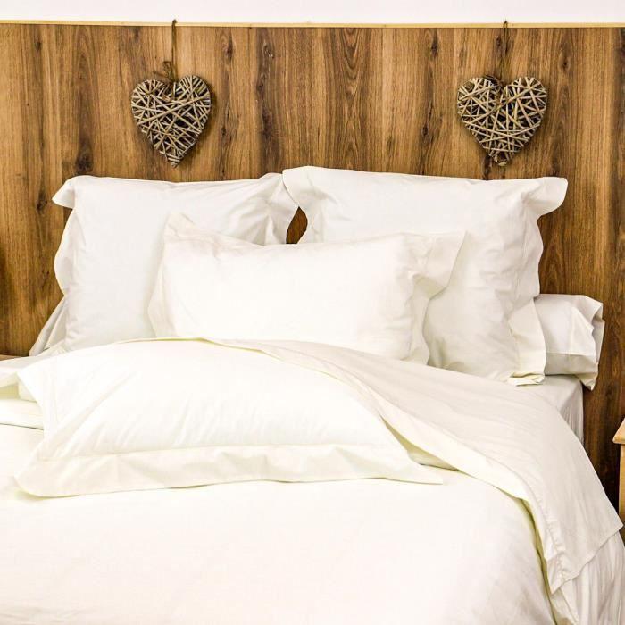 LINANDELLE - Housse de couette unie coton Percale 200 fils DESIREE - Ivoire - 240x260 cm